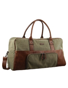 Pierre Cardin Canvas Overnight Bag -Brown