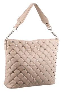 Milleni Stud Detail Blush Hobo Bag