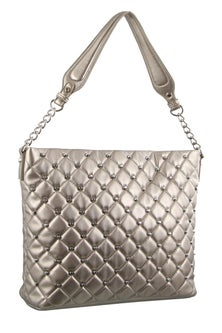 Milleni Stud Detail Pewter Hobo Bag