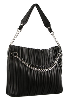 Milleni Pleated Black Hobo Bag