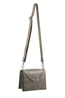 Milleni Chain Detail Pewter Cross Body Bag