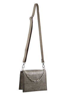 Milleni Chain Detail Pewter Cross Body Bag