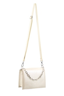 Milleni Chain Detail White Cross Body Bag