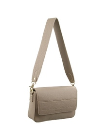Pierre Cardin Italian Leather Shoulder Bag With Wide Strap