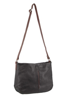 Milleni Leather Two Tone Black Cross Body Bag