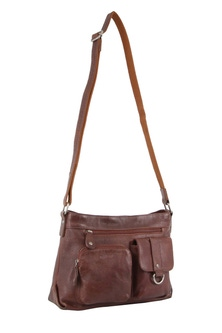 Milleni Italian Leather Chesnut Cross Body Bag
