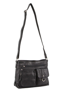 Milleni Italian Leather Black Cross Body Bag