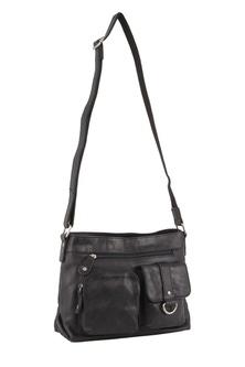 Milleni Italian Leather Black Cross Body Bag