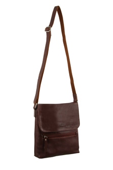 Milleni Leather Chestnut Compartment Cross Body Bag