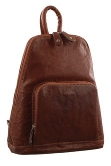 Milleni Leather Twin Zip Chestnut Backpack
