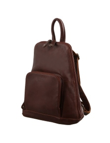 Milleni Women's Bag Italian Leather Soft Nappa Leather Backpack Travel - Chestnut