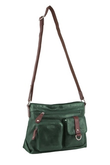 Milleni Italian Leather Emerald Cross Body Bag