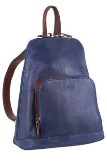 Milleni Leather Twin Zip Indigo Backpack