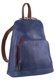 Milleni Leather Twin Zip Indigo Backpack