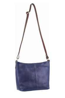 Milleni Leather Staple Two Tone Indigo Cross Body Bag