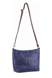 Milleni Leather Staple Two Tone Indigo Cross Body Bag