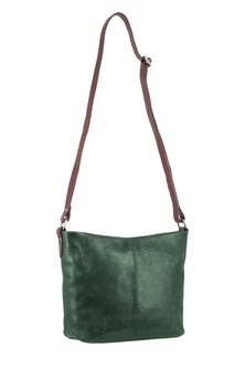 Milleni Leather Staple Two Tone Emerald Cross Body Bag