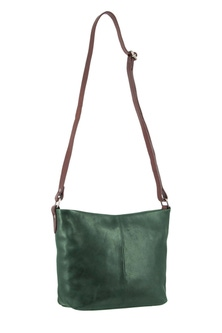 Milleni Leather Staple Two Tone Emerald Cross Body Bag