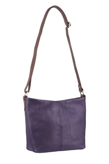 Milleni Leather Staple Two Tone Purple Cross Body Bag