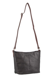 Milleni Leather Staple Two Tone Black Cross Body Bag
