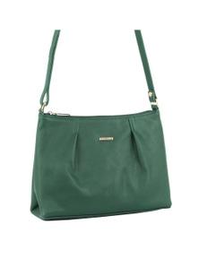 Pierre Cardin Italian Leather Cross Body Handbag With Pleat Detail