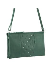 Pierre Cardin Italian Leather Cross-Body Bag /Clutch With Stud Detail