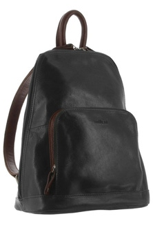 Milleni Leather Twin Zip Two Tone Black Backpack