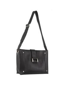 Pierre Cardin Italian Leather Cross-Body Bag With Buckle Detail