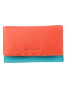 Pierre Cardin Italian Genuine Leather Ladies Wallet- Orange/Turquoise
