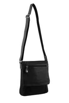 Milleni Leather Black Compartment Cross Body Bag