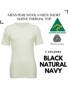 Men's 100% Pure Merino Wool V-Neck Short Sleeve Top T Shirt Thermal Underwear