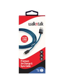 WalkNTalk 3m Sync Cable Micro USB - Blue