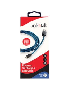 WalkNTalk 3m Sync Cable Micro USB - Blue