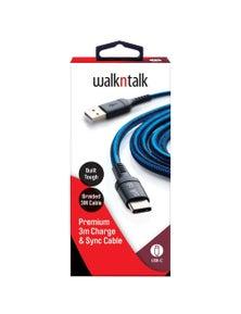 WalkNTalk 3m Sync Cable USB-C - Blue