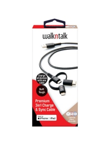 WalkNTalk 3 in 1 Light - Micro - USB-C 1m Cable - Black