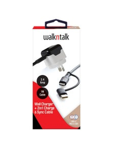 WalkNTalk Wall Charger + 2in1 Charge & Sync Cable - White And Black