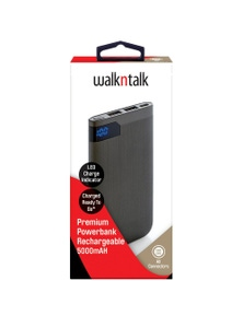 WalkNTalk 5000mAH Powerbank with LED - Grey