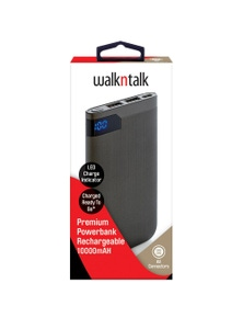 WalkNTalk 10000mAH Powerbank with LED - Grey