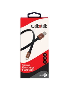 WalkNTalk 30cm USB-C Cable - Black