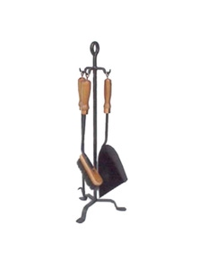Fire Tool Set Timber Handle with Stand - 3 Piece