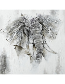 NF Living Elephant Canvas Painting with Metal Embellishments