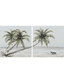 NF Living Set of 2 Tropical Palm Canvas Paintings