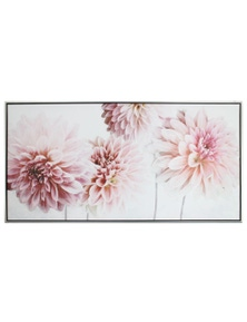 NF Living Framed Pink Dahlia hand painted Canvas Painting