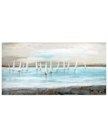 NF Living Hand Painted Calm Lake Sails Painting Canvas Wall Art