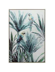 NF Living Framed Macaw Twin Palm Canvas Wall Art