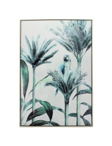 NF Living Natural Framed Macaw Palm Canvas Wall Art