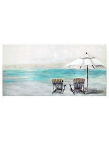 NF Living Hand Painted Peaceful Beachside Canvas Painting Wall Art