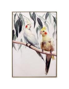 NF Living Framed Loving Cockatiel Canvas Painting