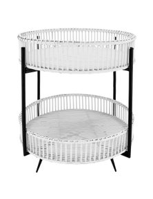 NF Living 2 Tier Rattan Folding Side Table