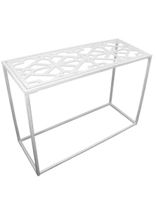 NF Living Ada Metal Console Table with Clear Glass Top